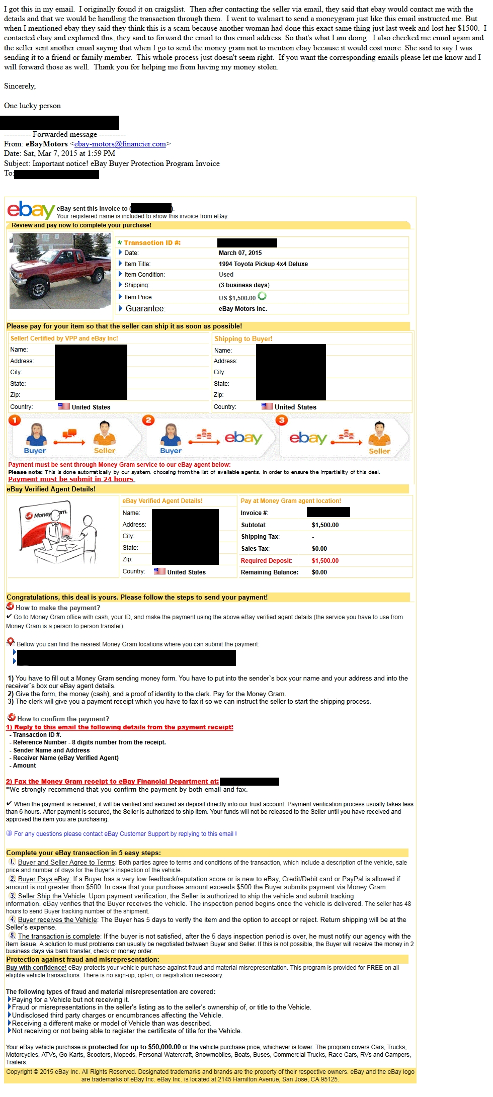 ebay motors security center paypal invoice buyer protection
