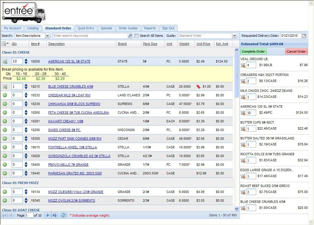 entre online food distributor software dot net invoice