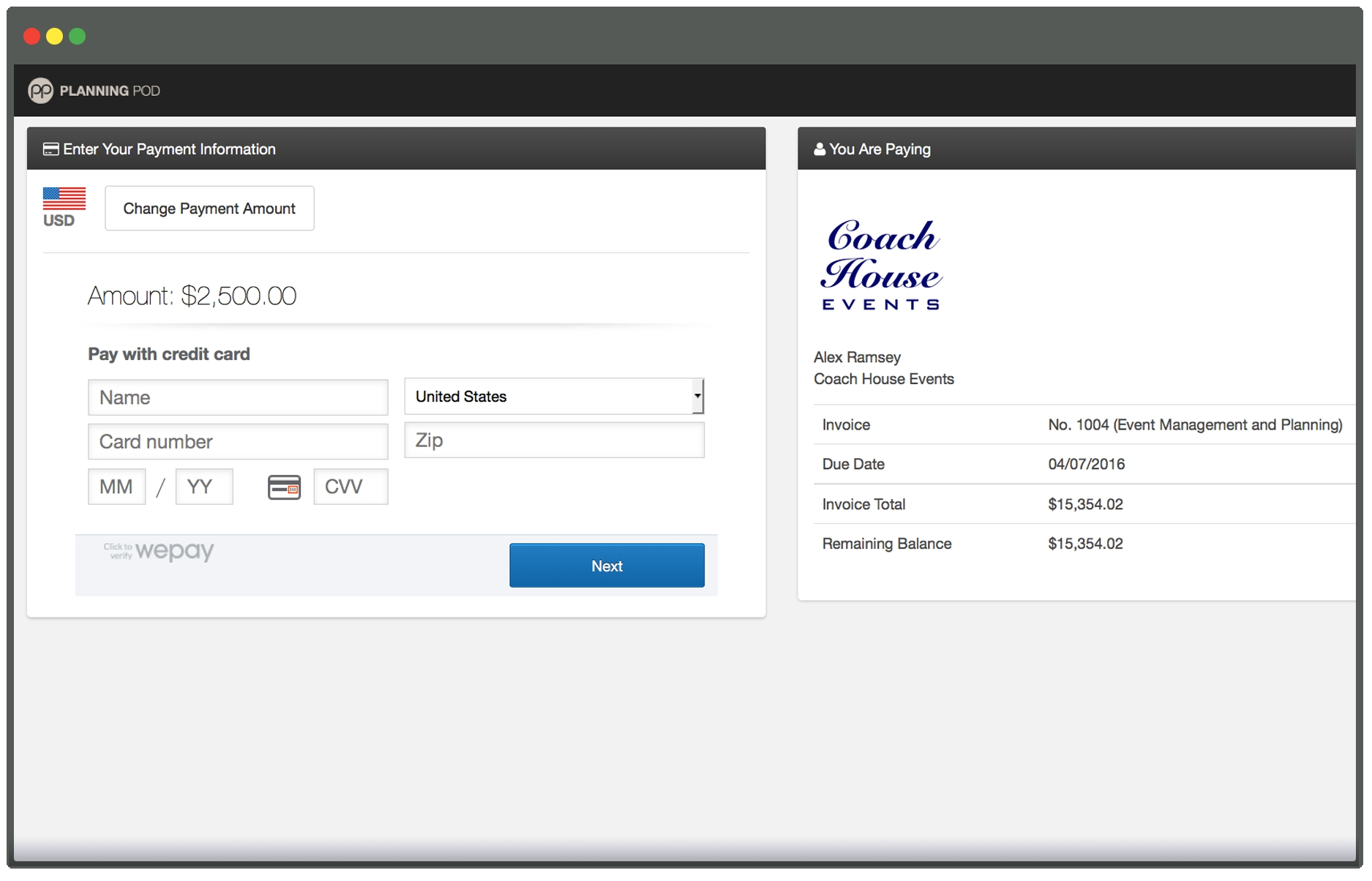 event credit card payment processing online planning pod online invoice processing