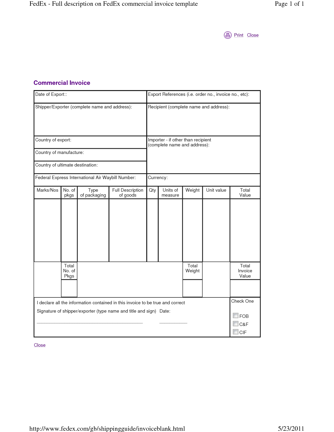 fedex commercial invoice fedex proforma invoice products anabolics 1275 X 1650