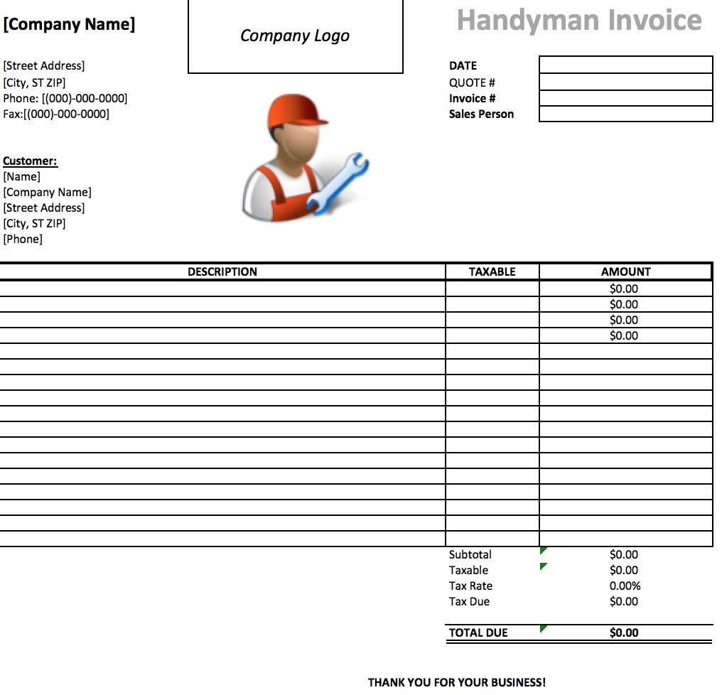 free handyman invoice template excel pdf word doc handyman invoice forms
