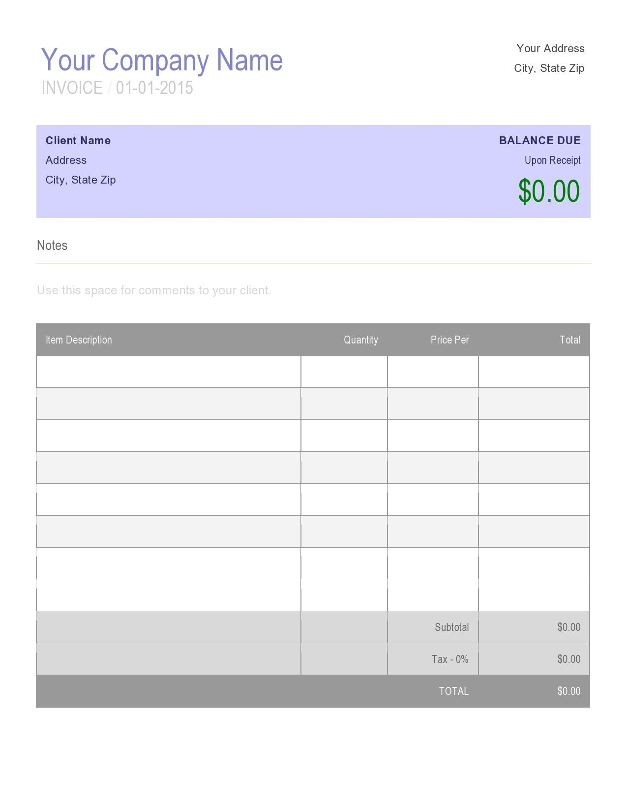 Free Online Invoice Creator Template