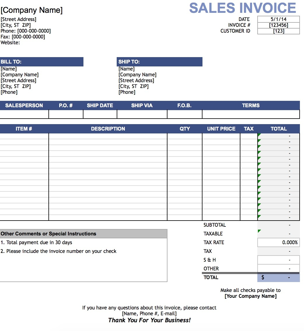 free sales invoice template excel pdf word doc invoice in excel