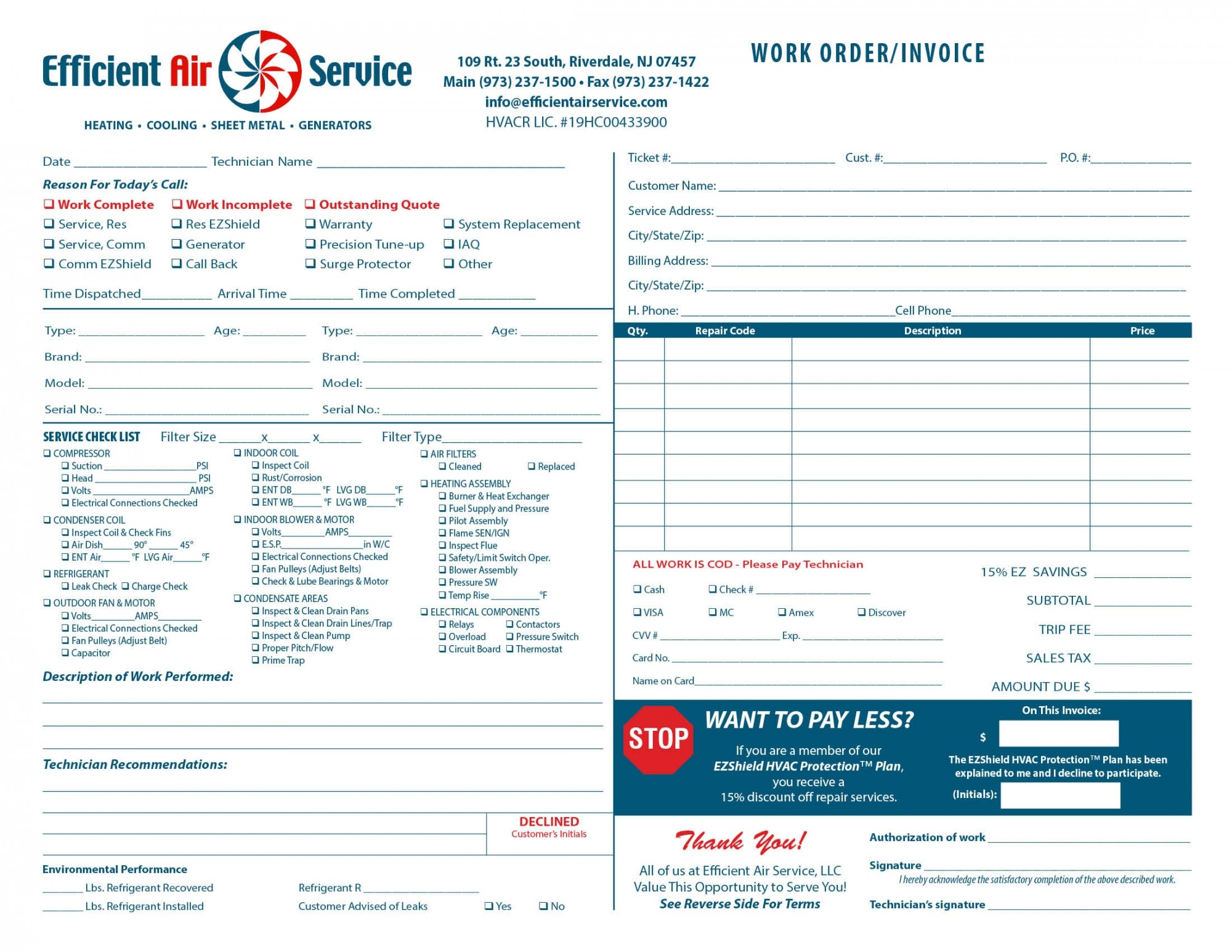heating amp air invoice form samples wilson printing wilson hvac invoice forms
