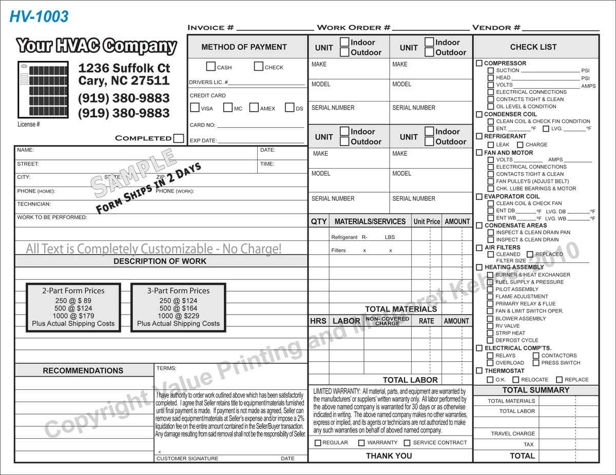 index of orderformsinvoice form 1 hvac invoice forms