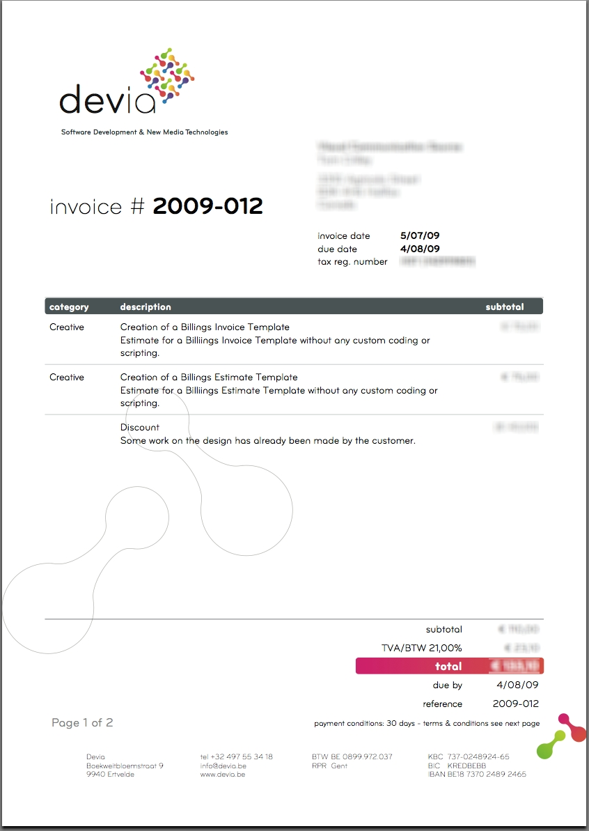 Graphic Design Invoices