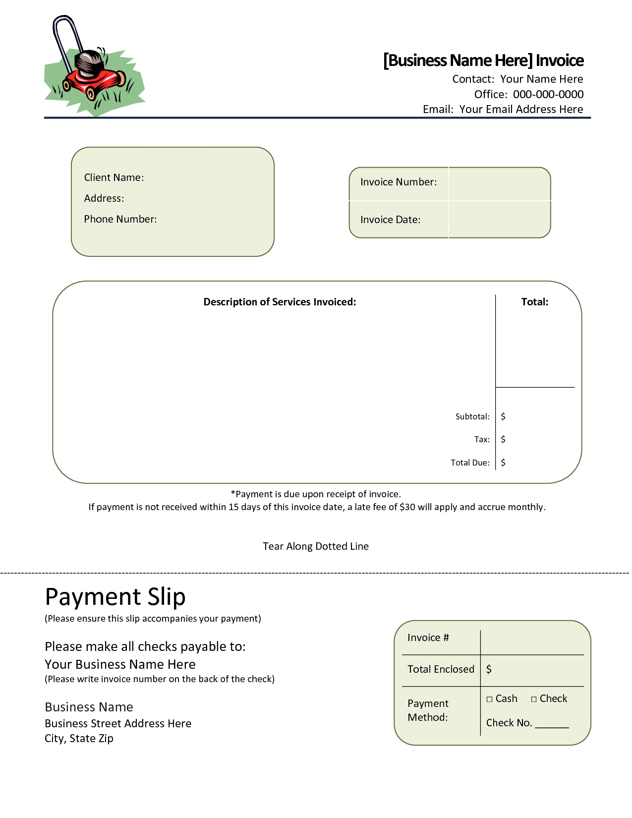 Landscaping Invoice Software * Invoice Template Ideas