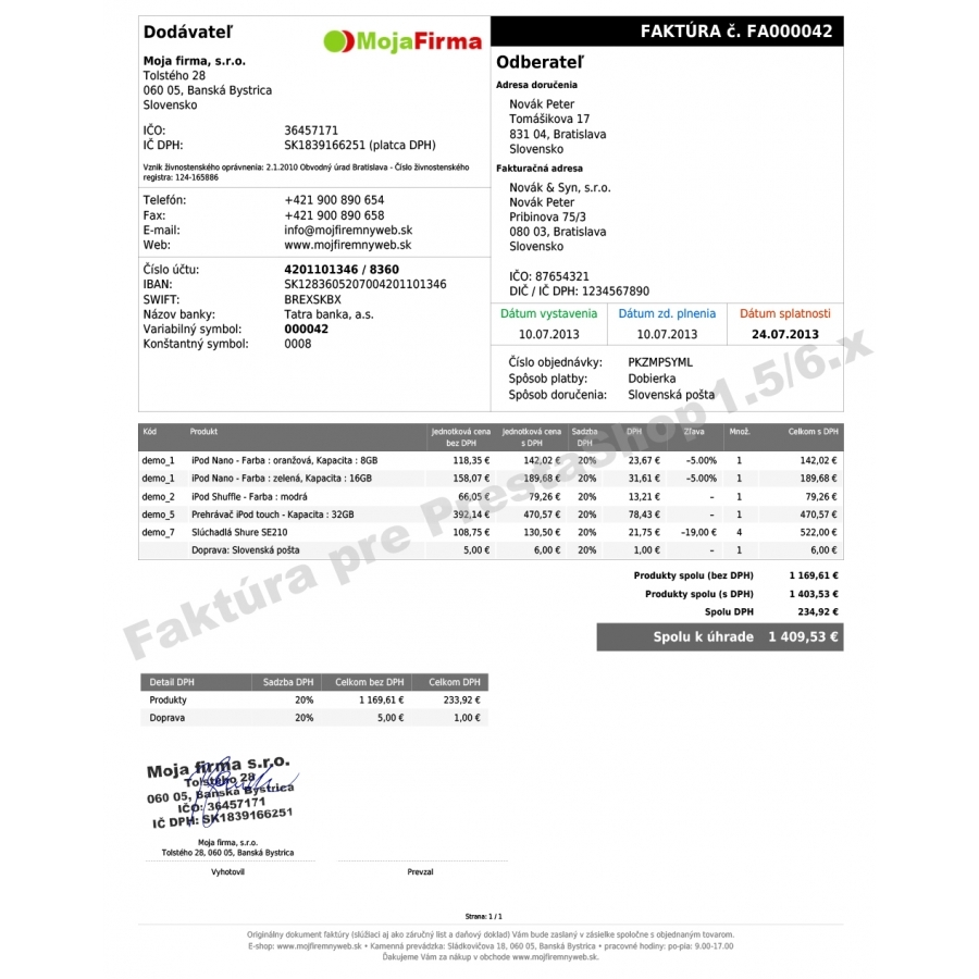 module czech and slovak invoice delivery and order slip for prestashop invoice module