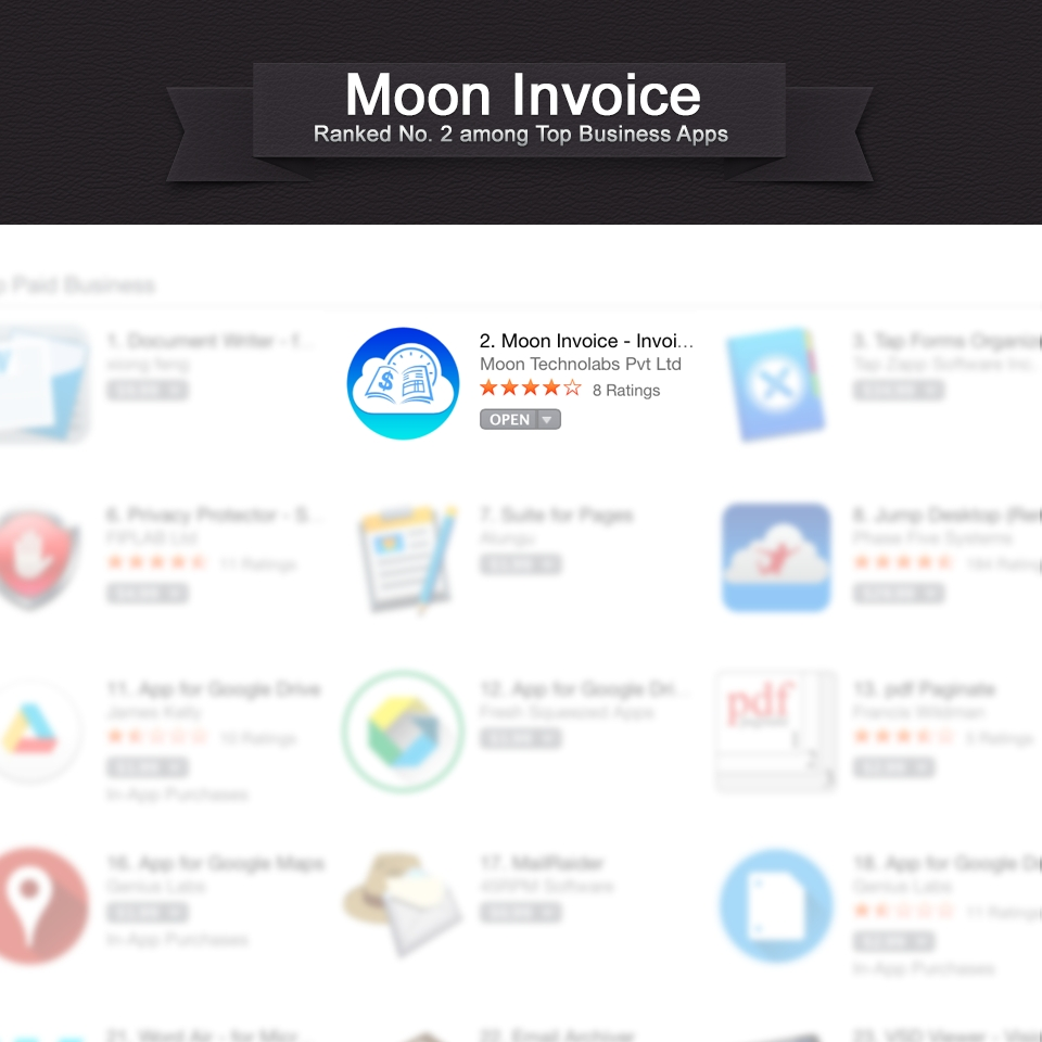 moon invoice for mac osx reaches 2nd position in app store moon app store invoice