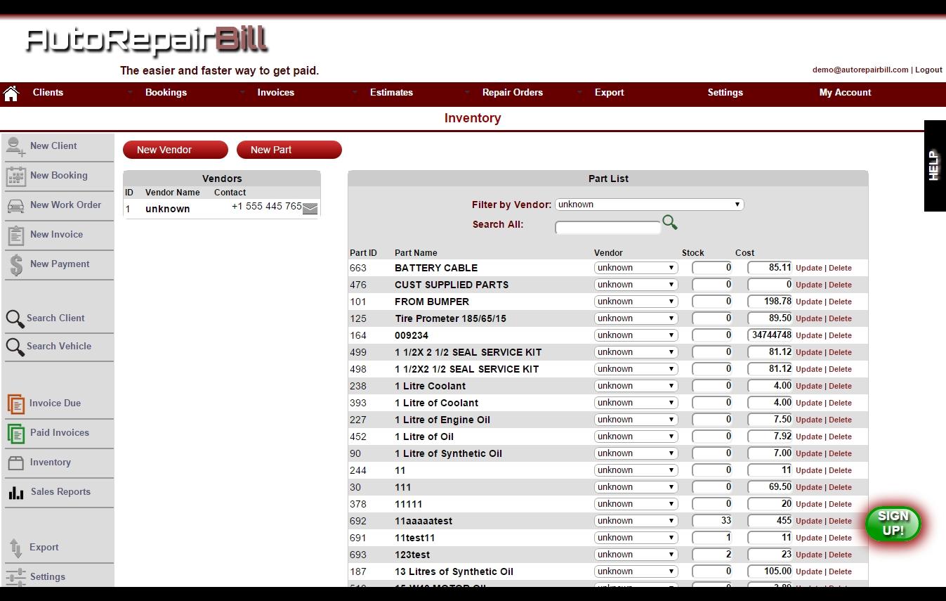 new parts amp inventory management auto repair invoice software inventory invoice software