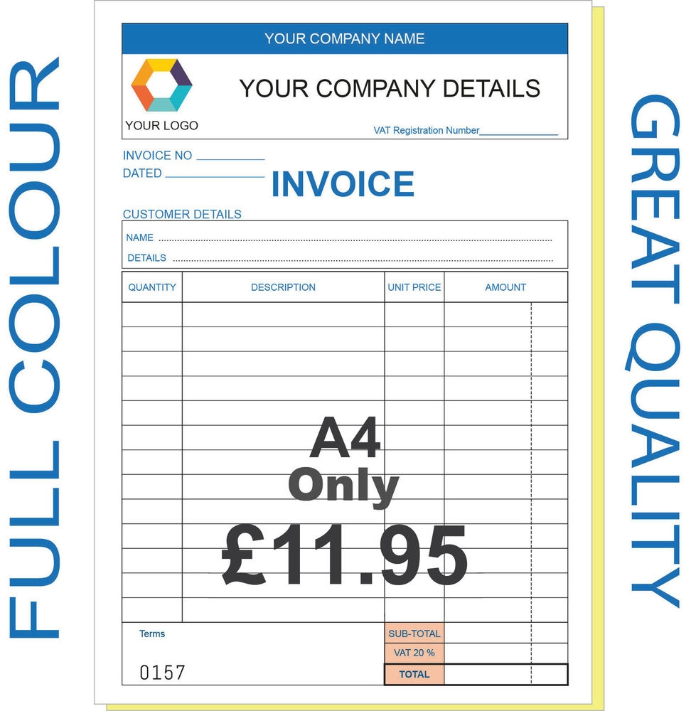 personalised invoice book business office amp industrial ebay pre printed invoice books
