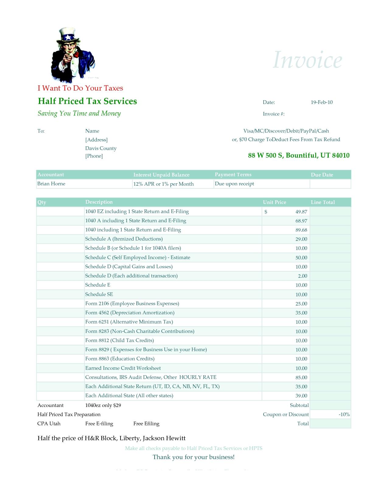 prepare an invoice tax accountant description tax accountant salary tax preparation 1275 X 1650