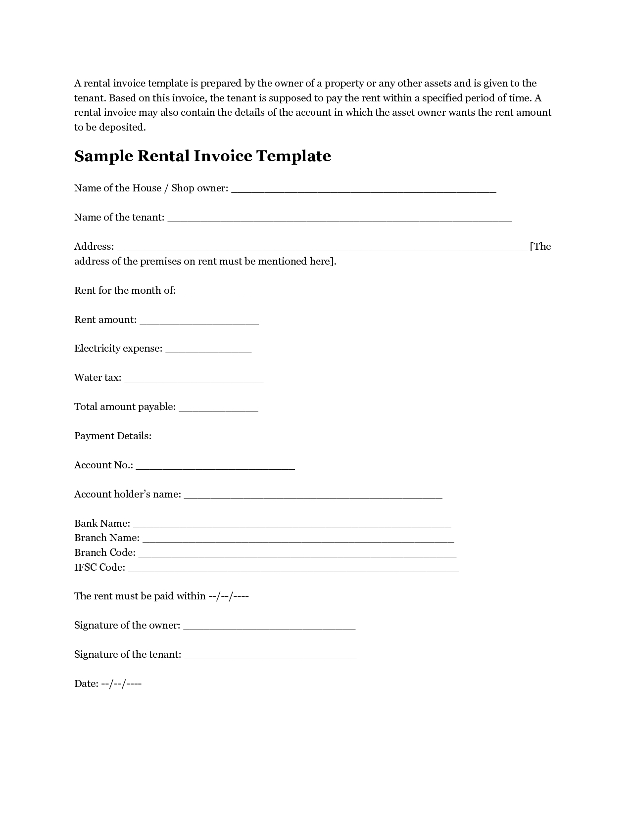 rental invoice sample rent invoice form invoice template free 2016 1275 X 1650