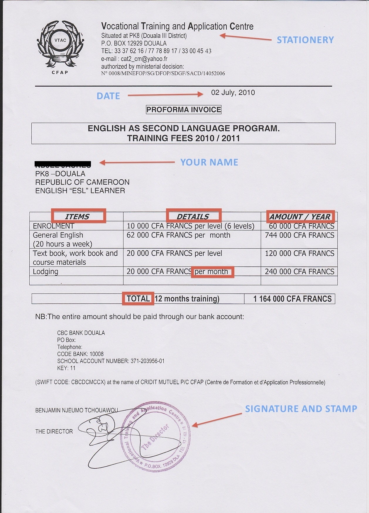sample of school invoice the albert baker fund in africa school invoice template