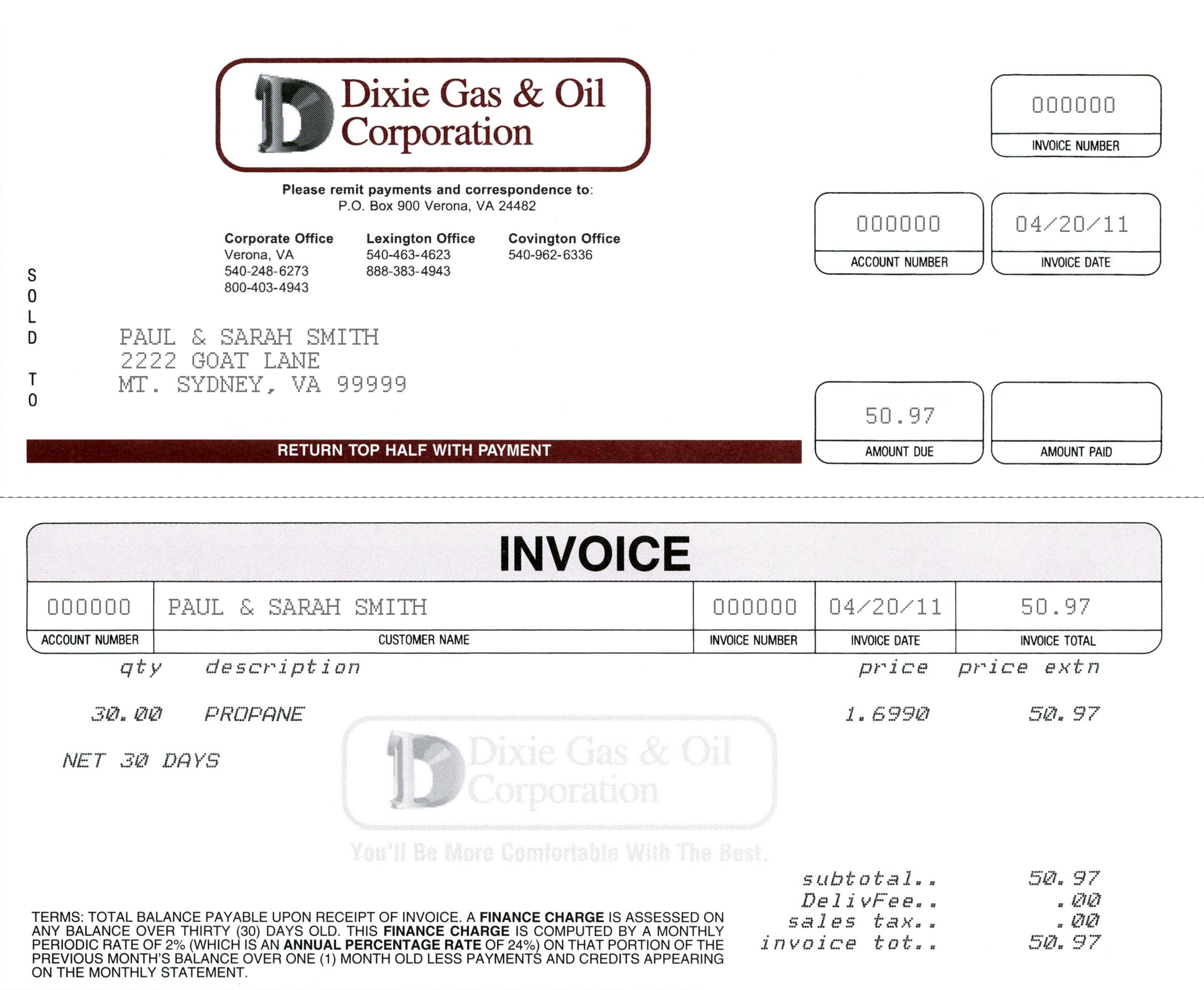 statement of invoices
