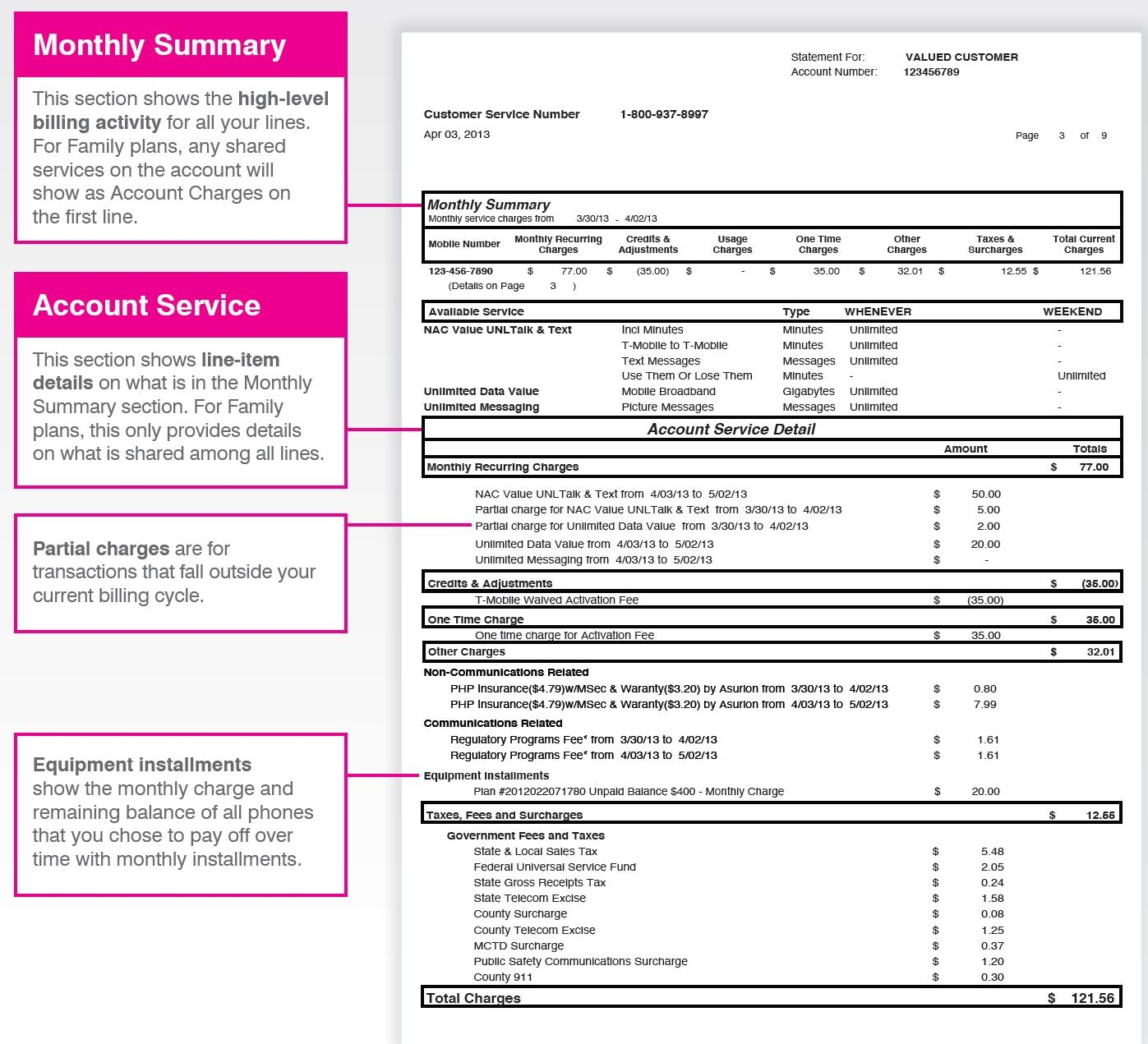 understand your bill t mobile support statement vs invoice