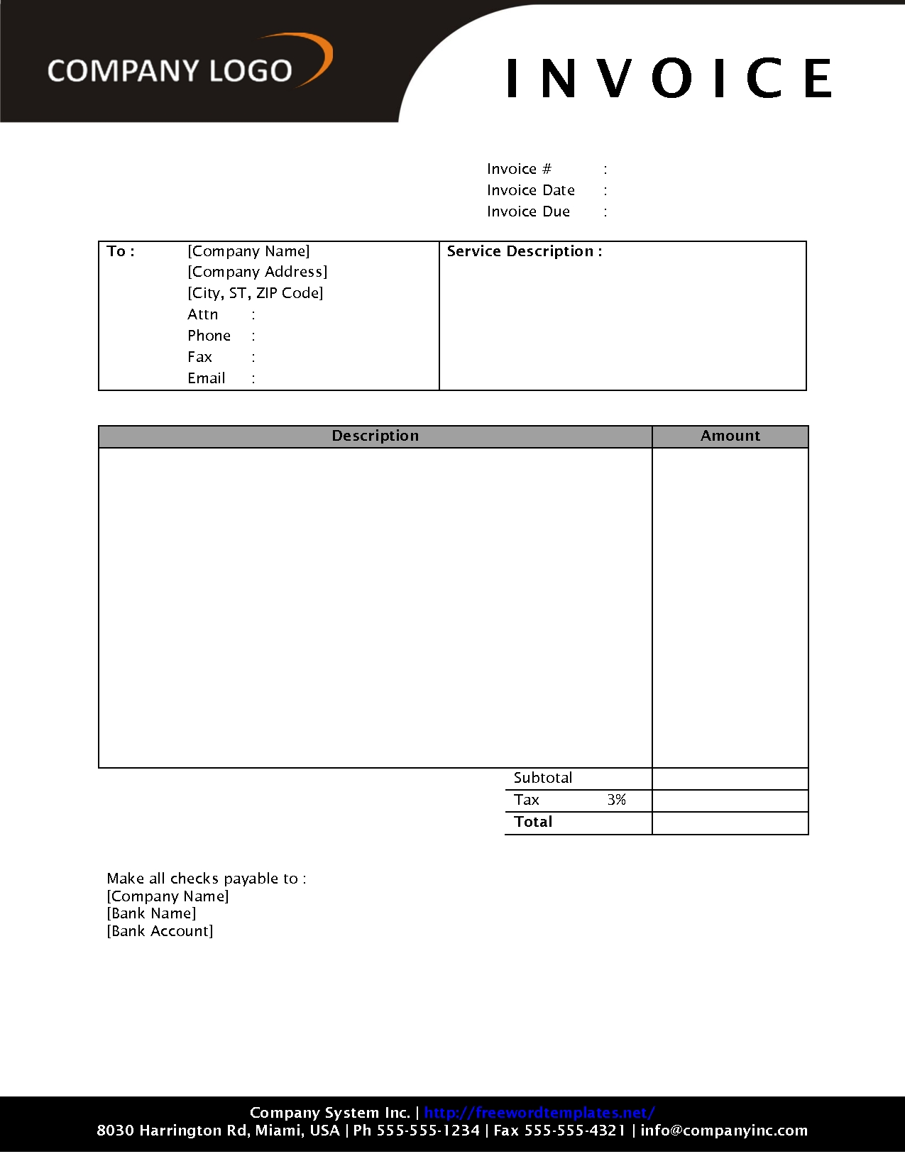 Free Download Invoice Template