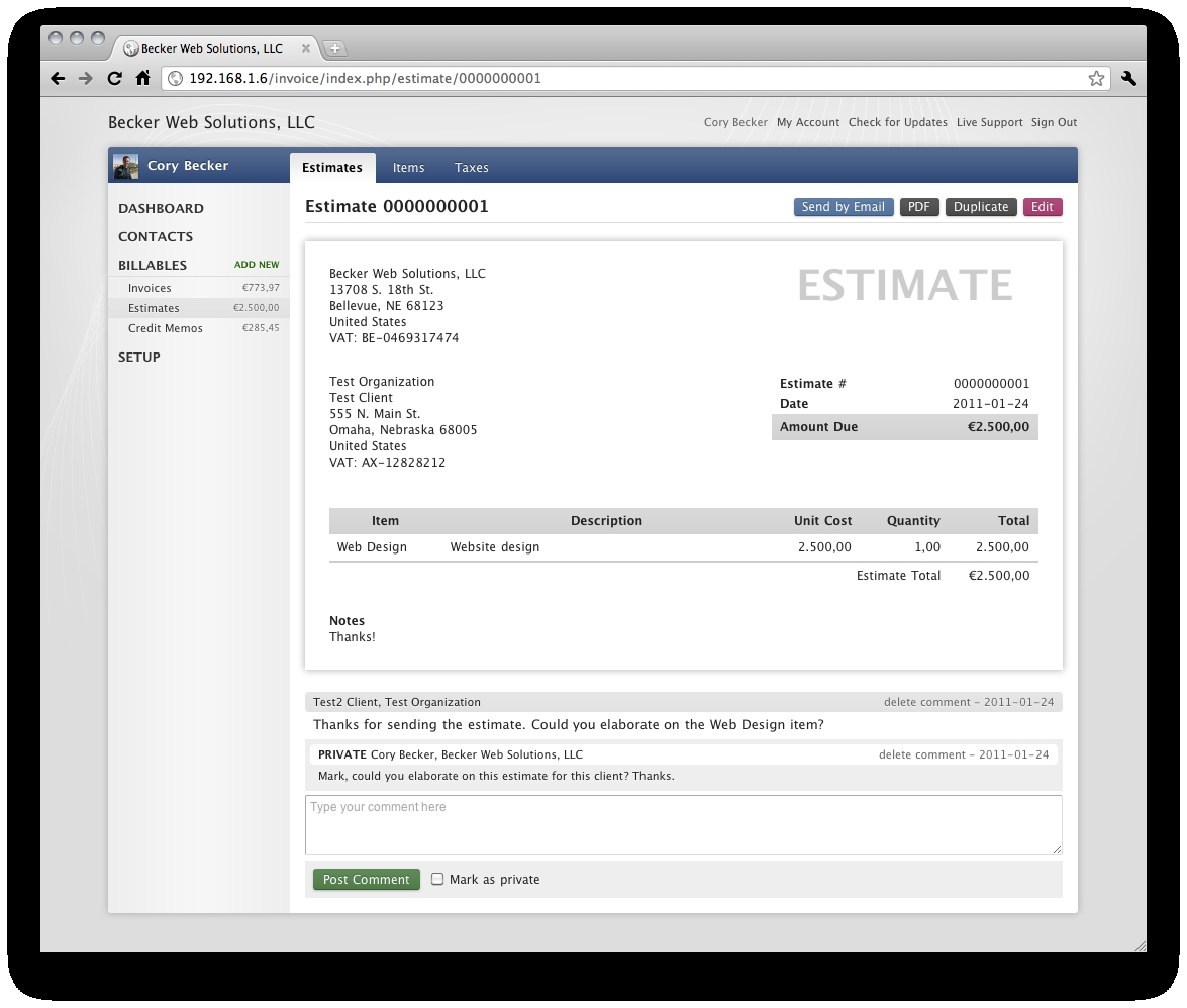 estimate and invoice comments rocket invoice php invoice estimates and invoices