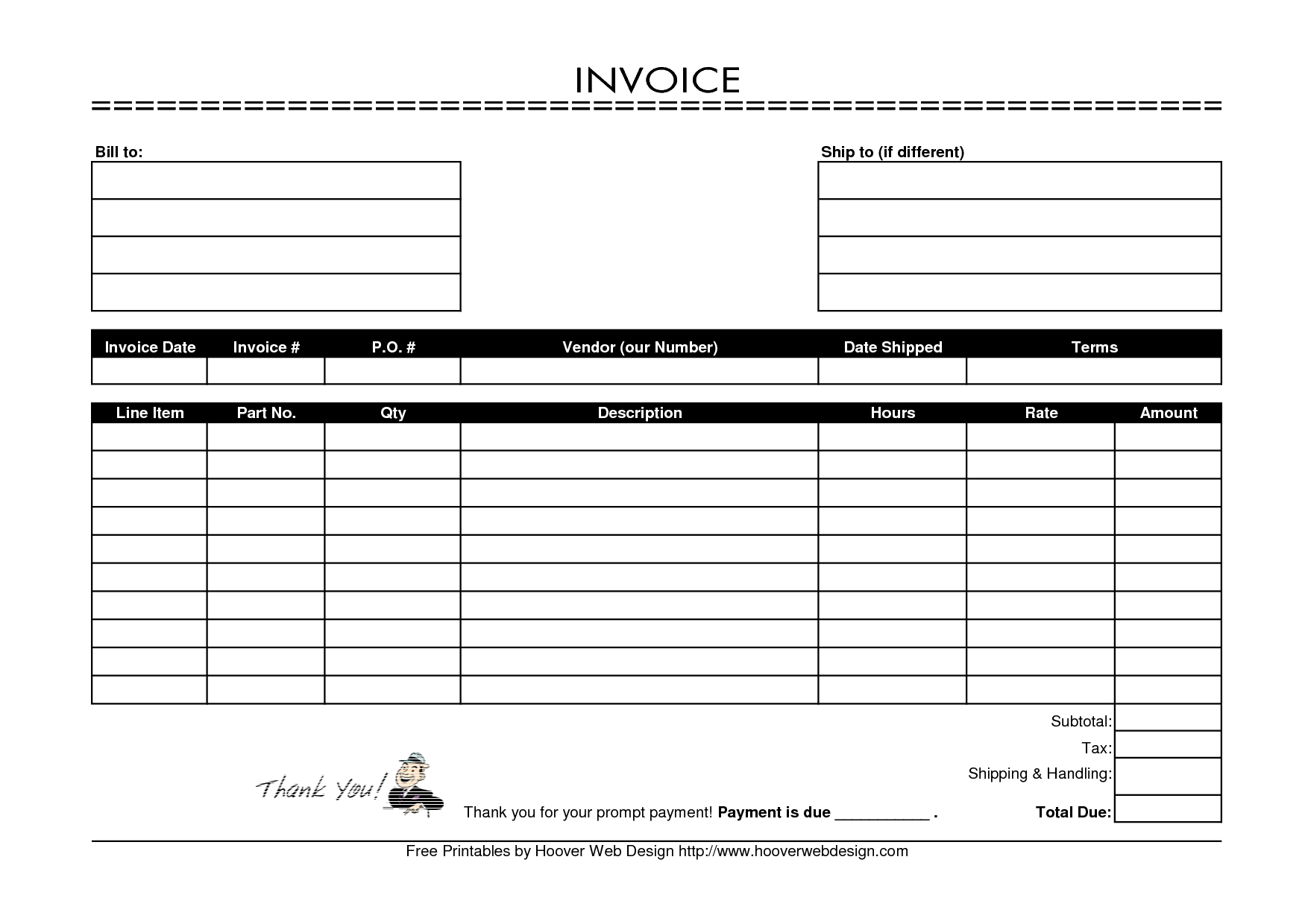 Free Printable Blank Invoices