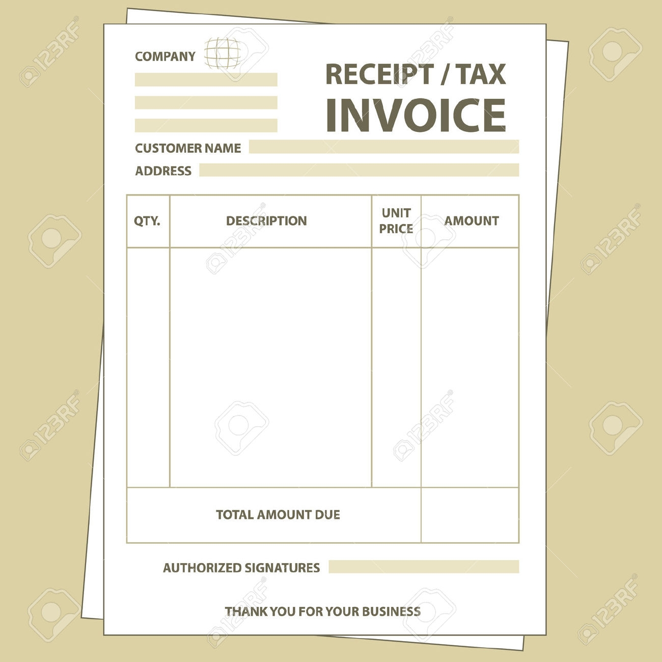 illustration of unfill paper tax invoice form royalty free tax invoice receipt template