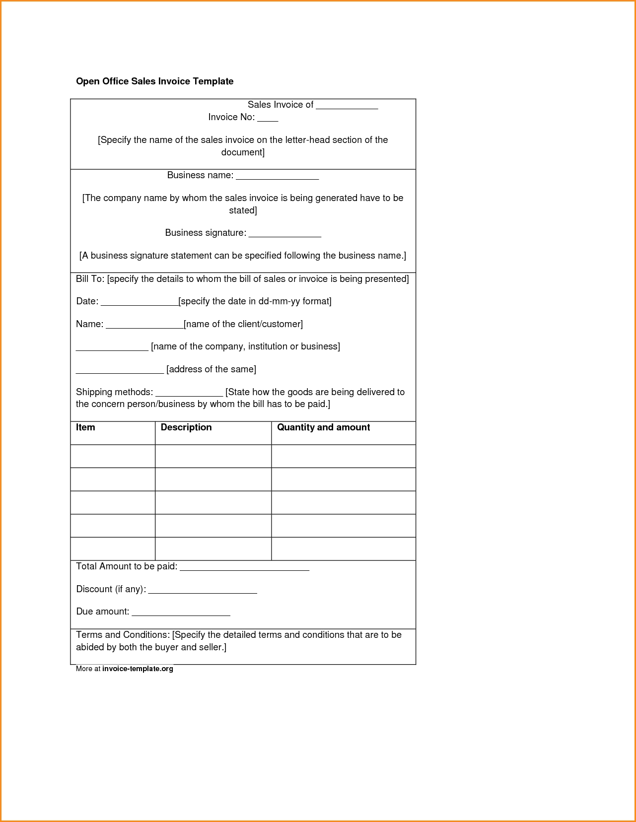 Invoice Template Open Office Invoice Template Ideas - Invoice templates open office