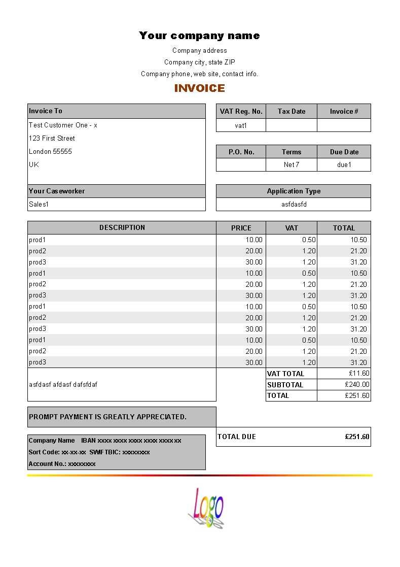 sample of invoice template