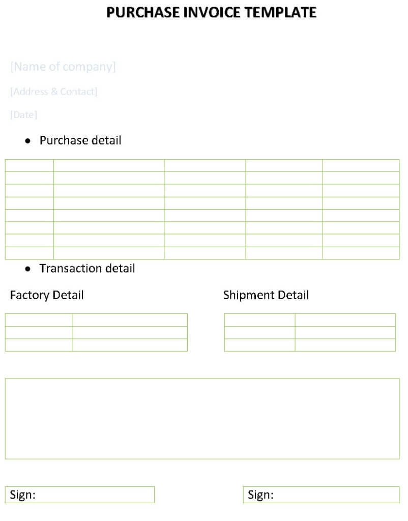 purchase invoice template purchase invoice template