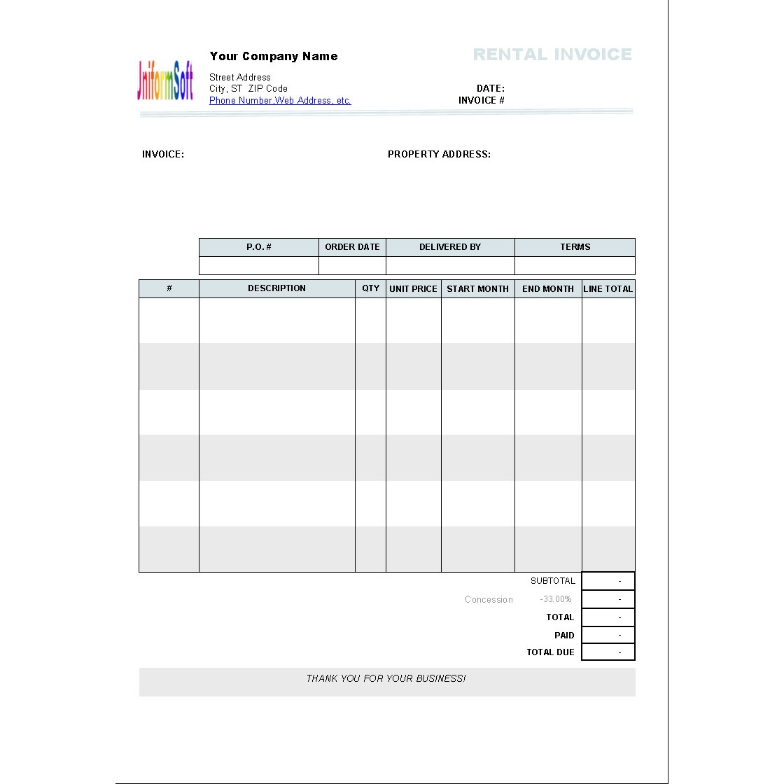 rental invoice template 110 free download freewarefiles rental invoice template excel
