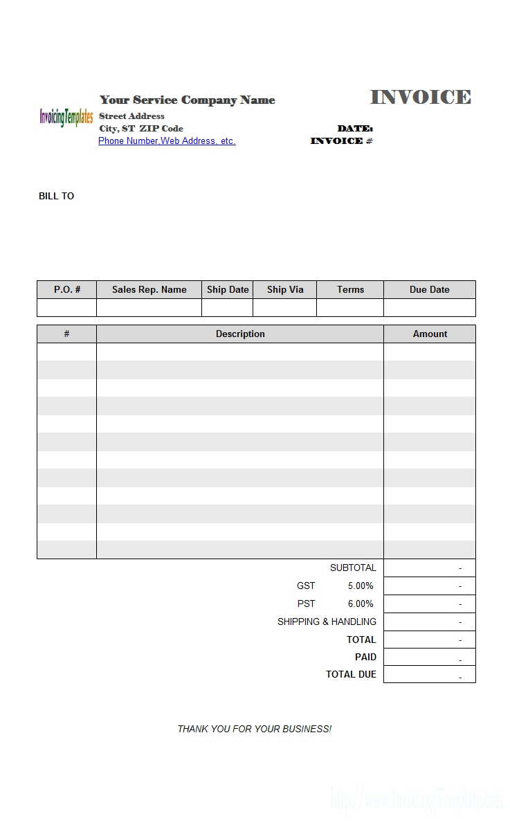 service tax invoice format excel blank tax invoice