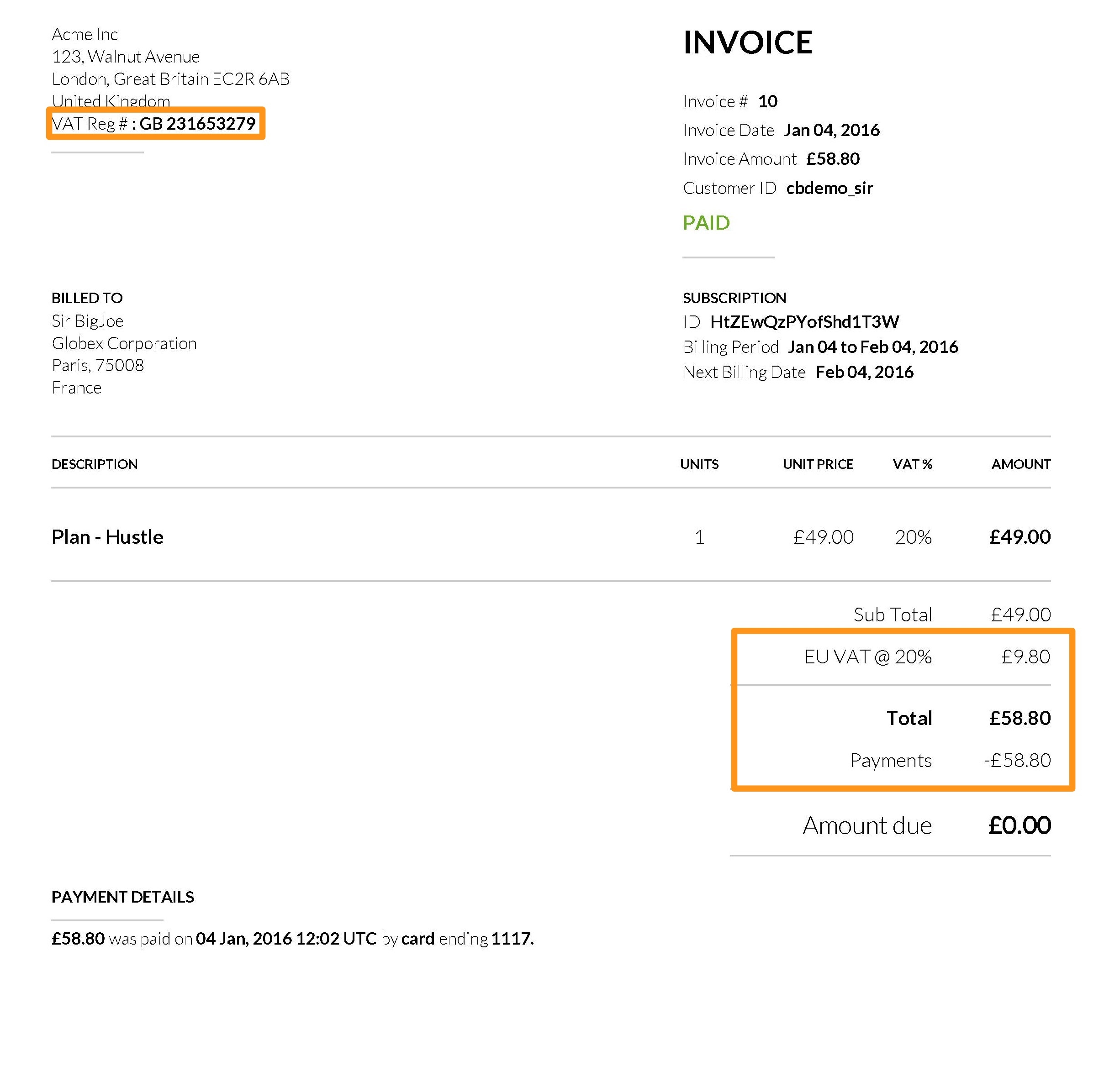 Invoice With Vat * Invoice Template Ideas