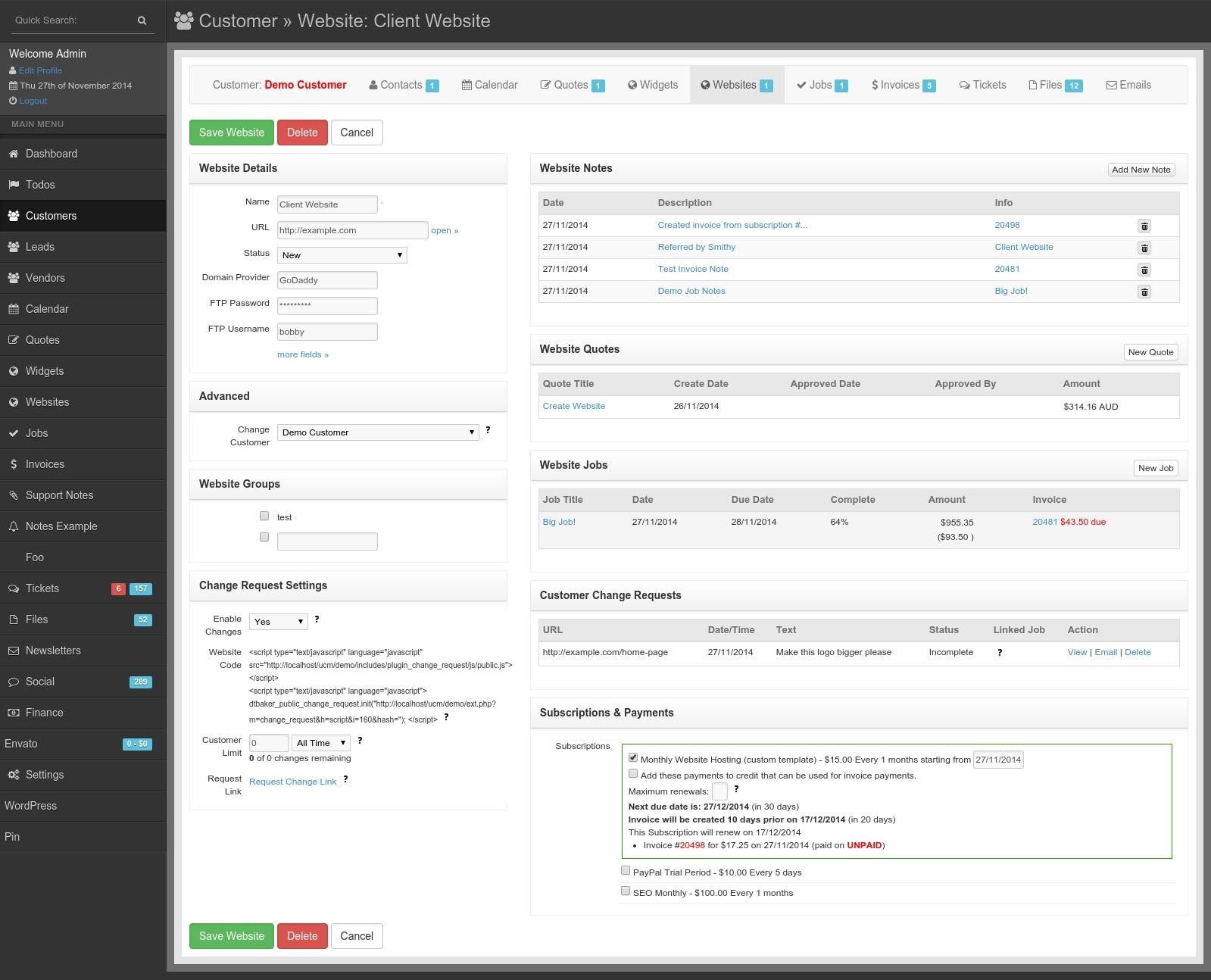 ultimate client manager open source crm website and project open invoice login