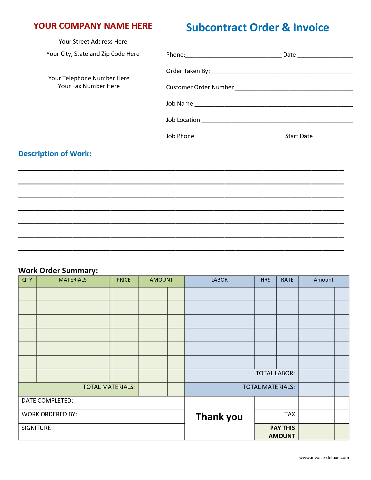 work invoice template free free business template work invoice template free