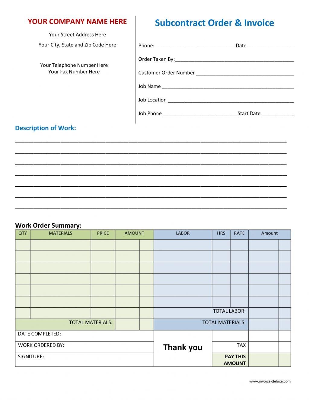 work order template invoicegenerator work order invoice template