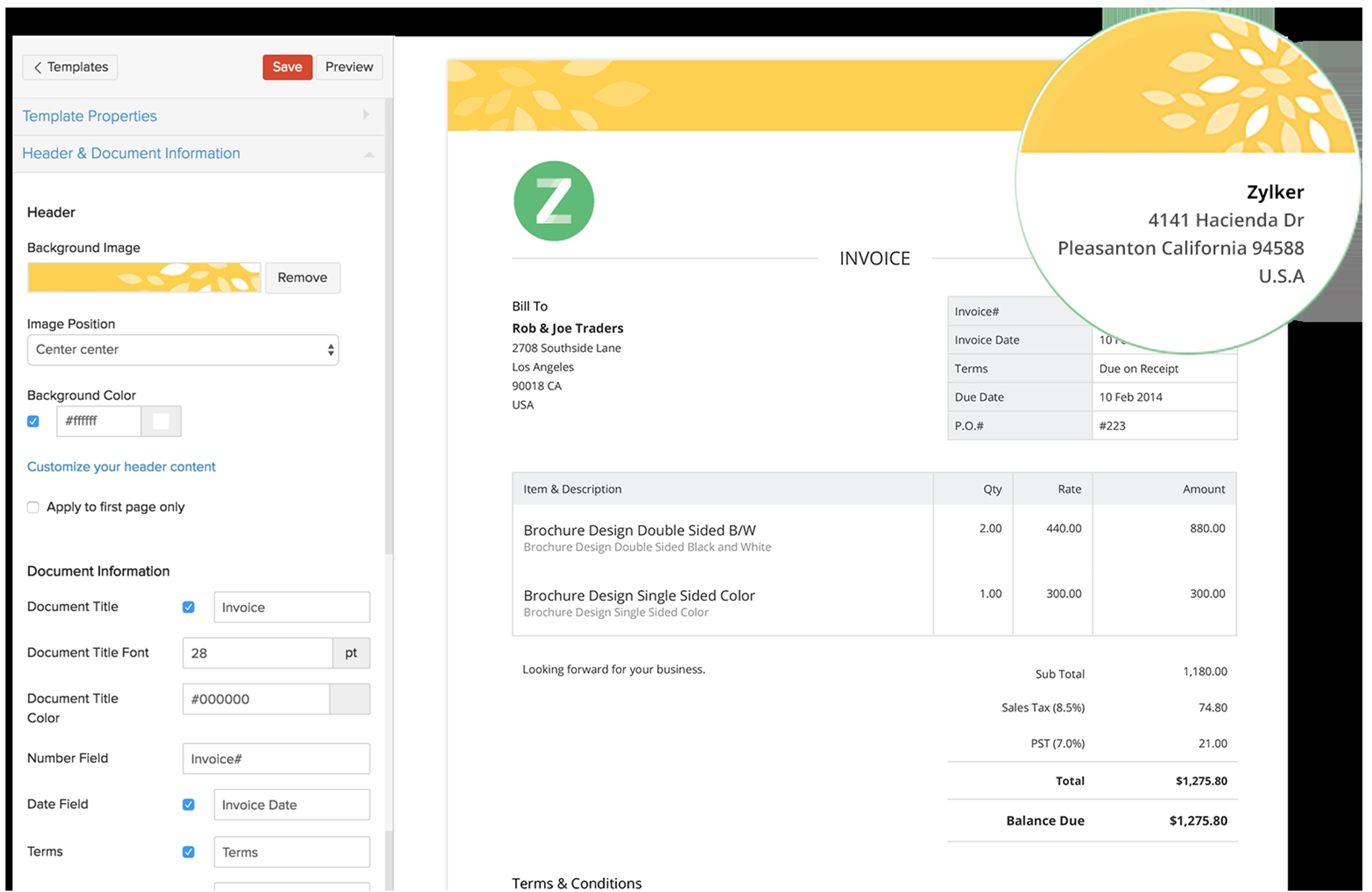 zoho invoice template invoice template online invoicing software 1566 X 1018