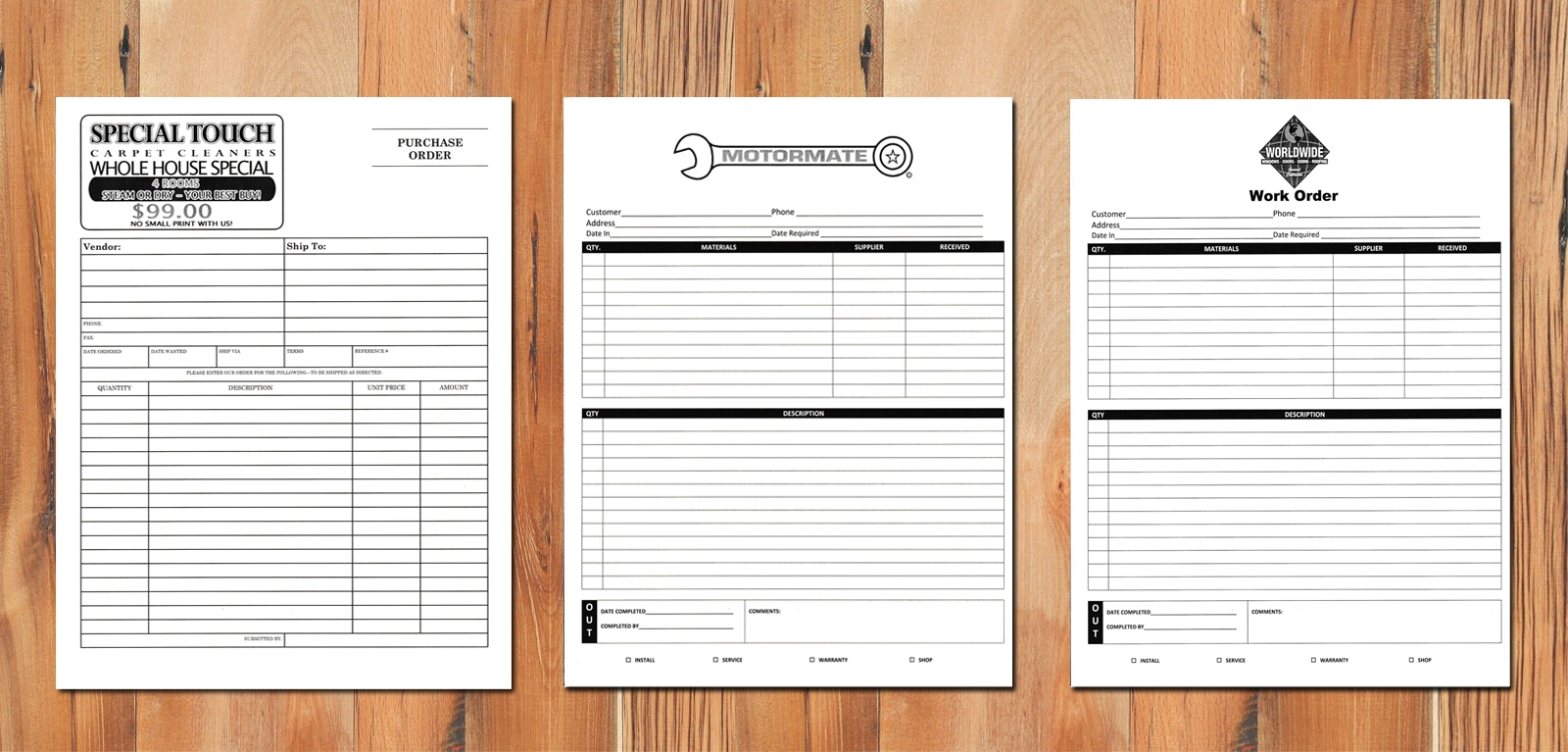 3 part invoices carbonless carbon copy invoices