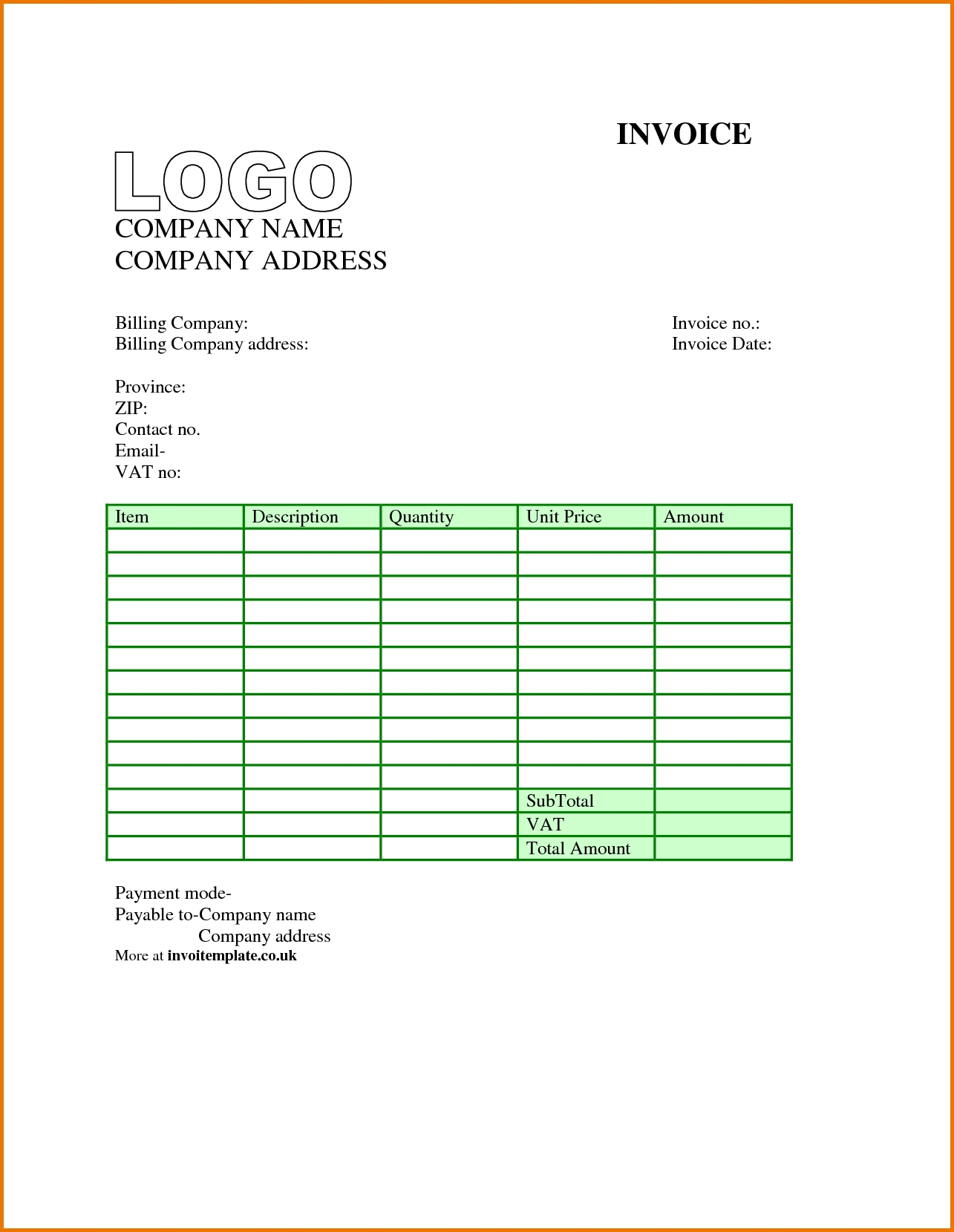 Free Invoice Template Uk Excel