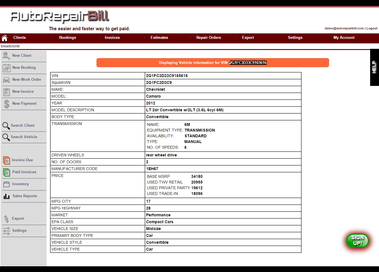 Auto Repair Invoice Template Invoice Template Ideas - Auto repair shop invoice software