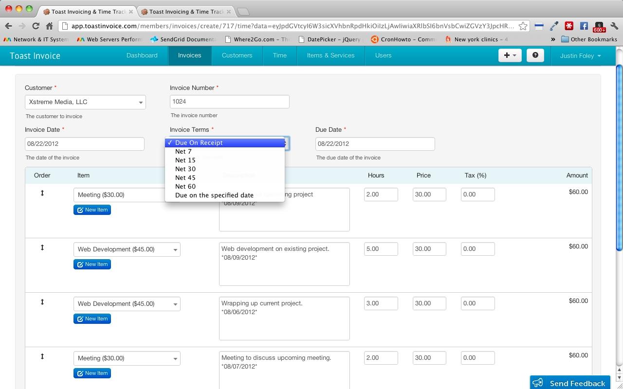 Create Online Invoice