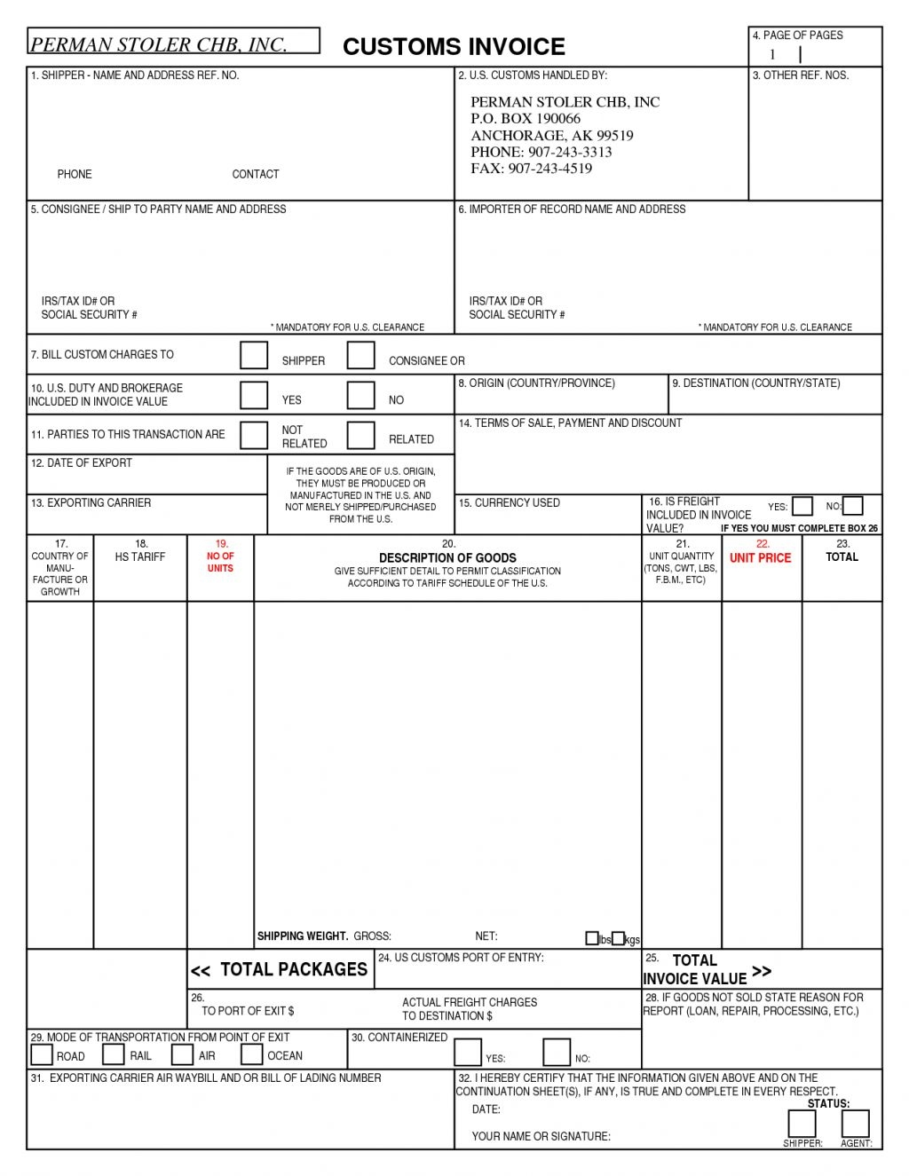Us Customs Invoice Form