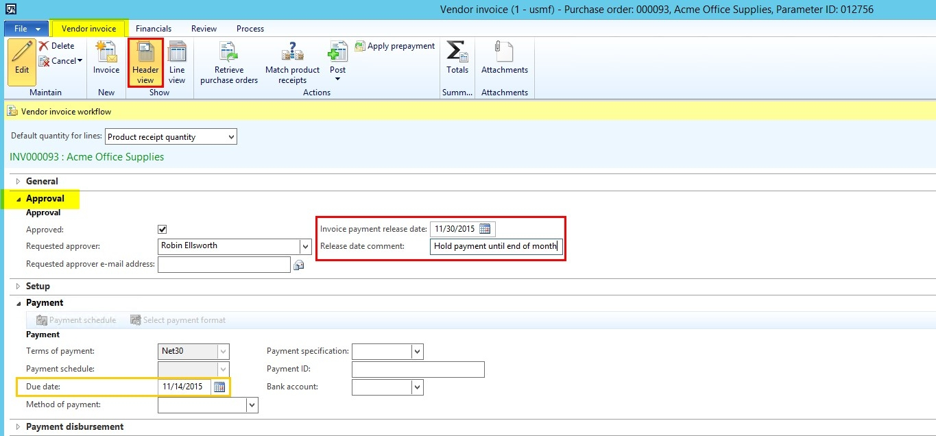dynamics ax 2012 hold payment on individual invoice tridea vendor invoice processing