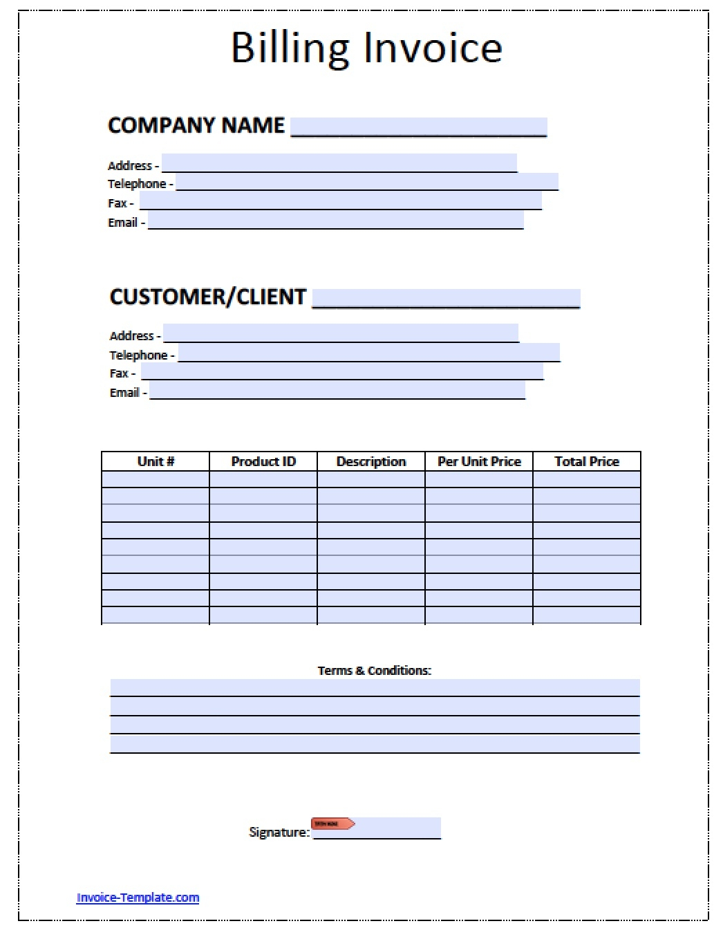 free blank invoice templates in pdf word amp excel billing invoice templates