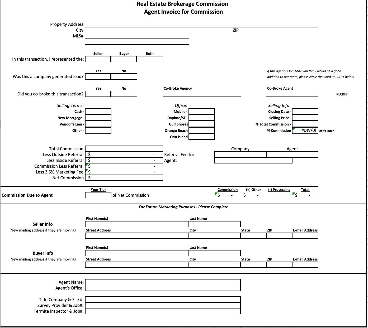 free real estate brokerage commission invoice template excel commission invoice template