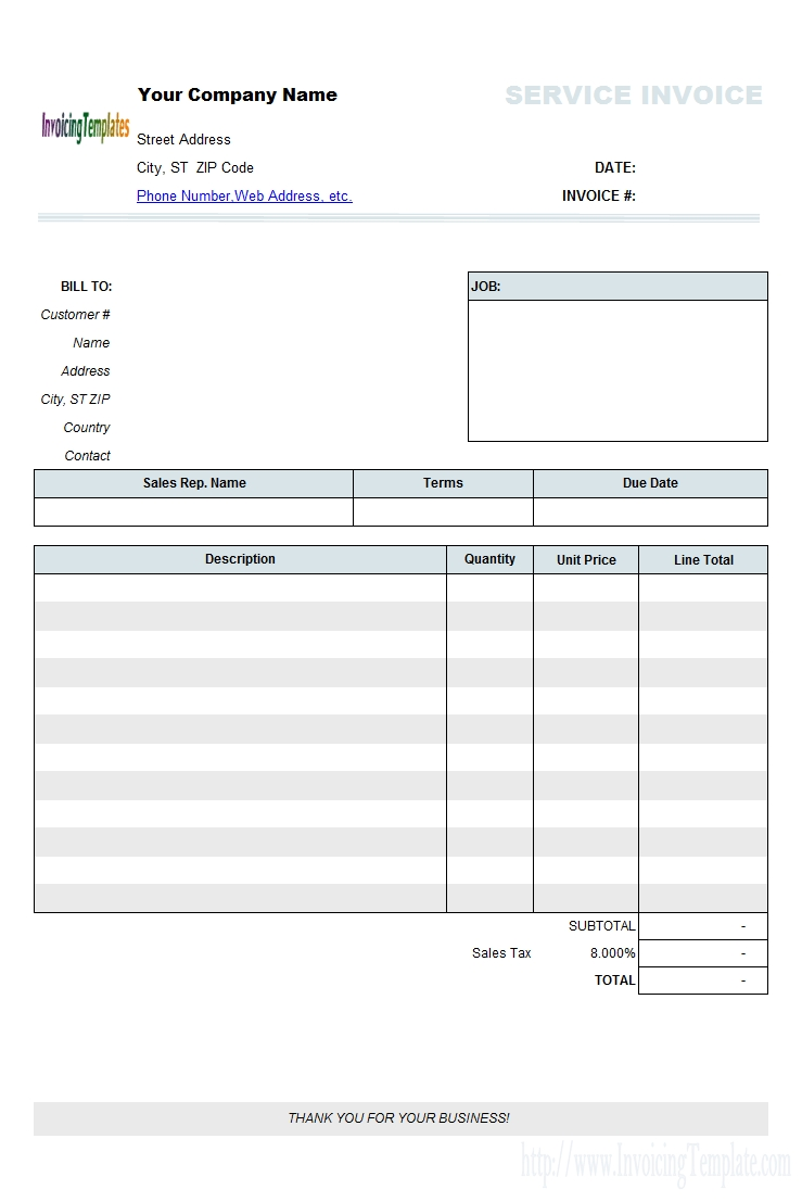 Free Service Invoicing Template Service Invoice Template Excel ...  Free Service Invoice