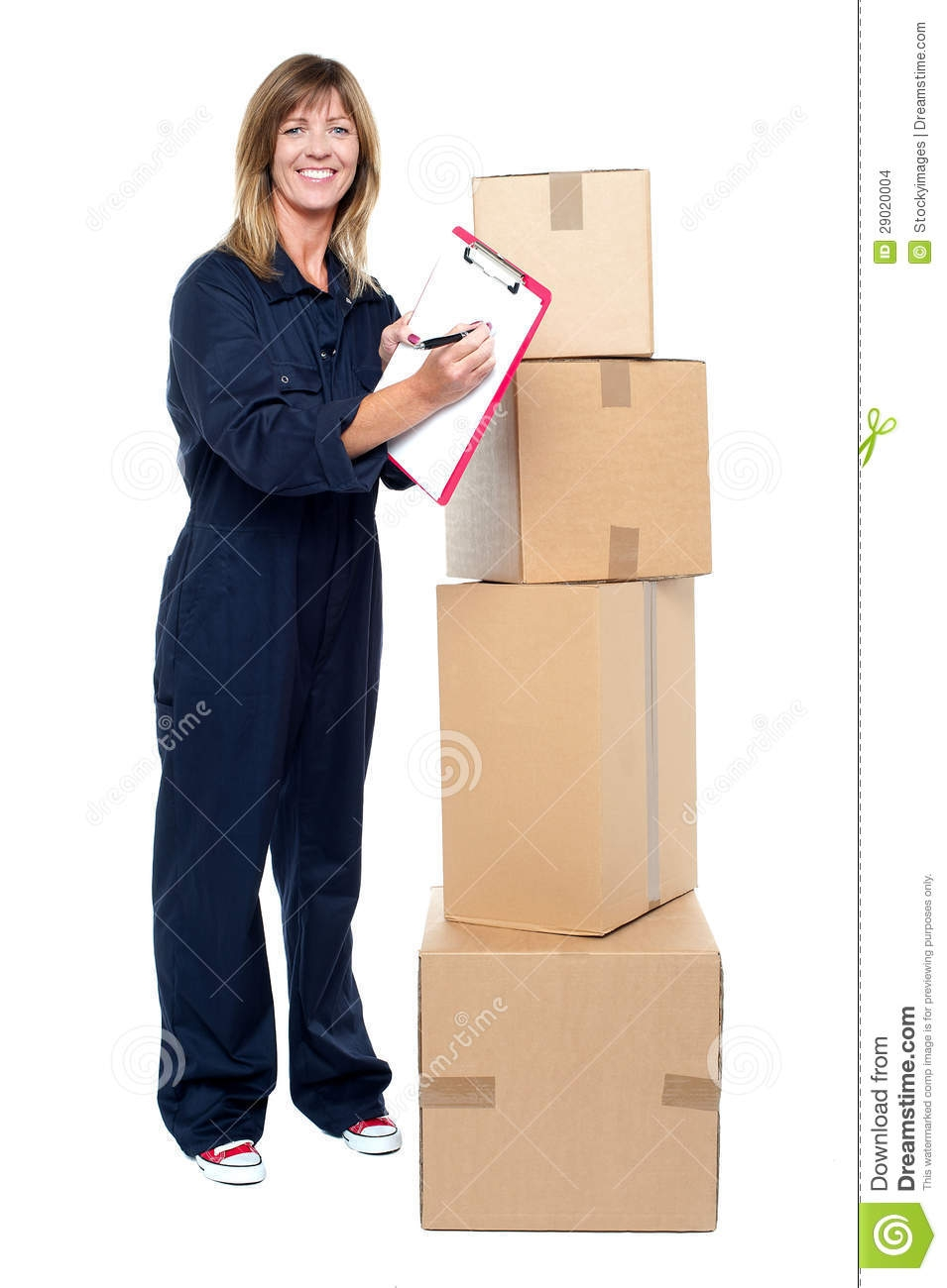 happy delivery woman preparing an invoice stock images image preparing an invoice