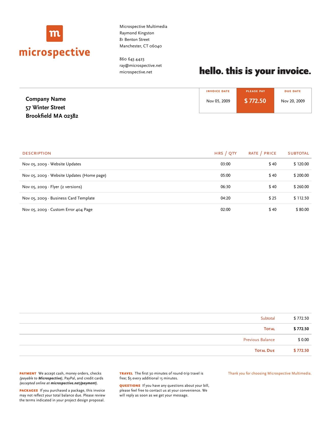 Website Invoice Sample