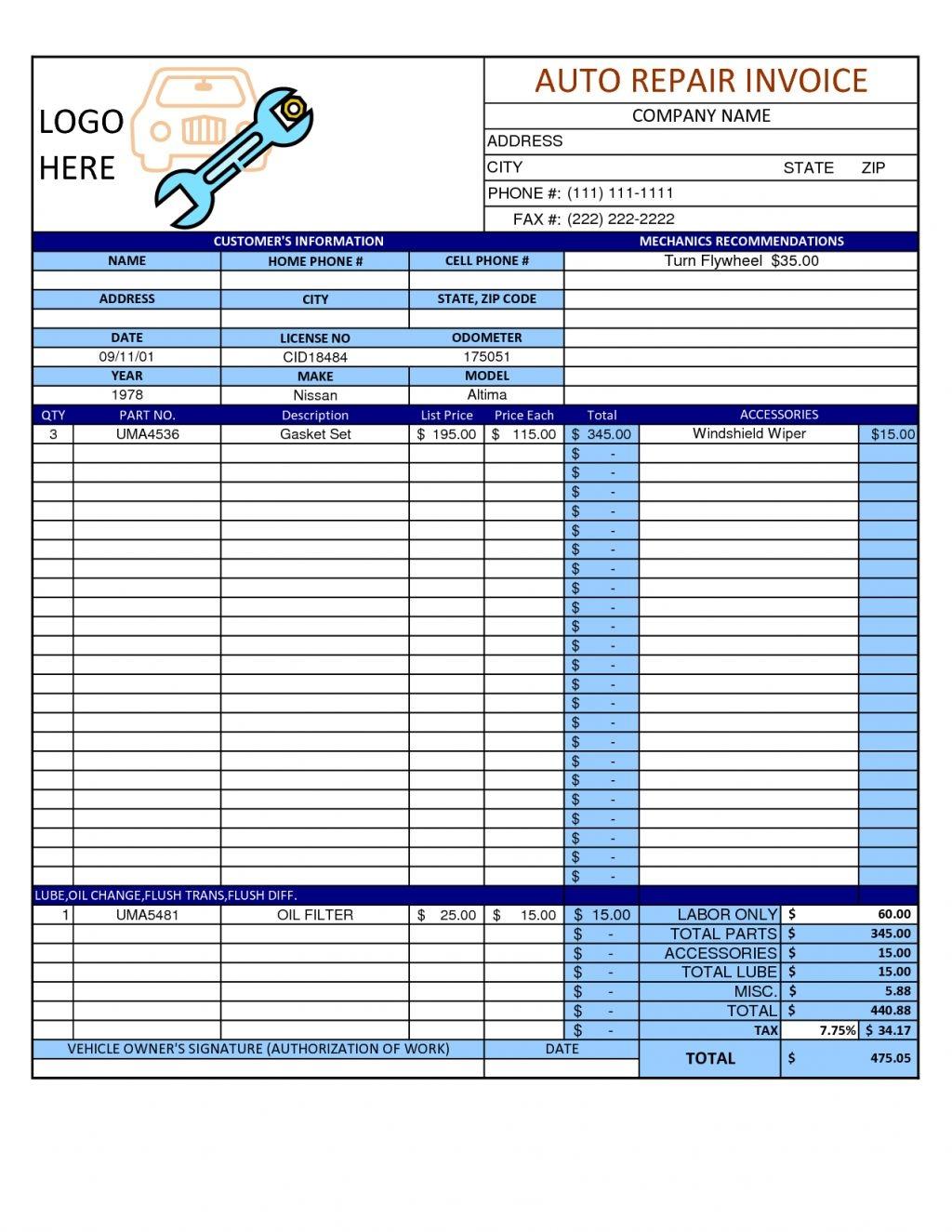 mechanic invoice template pdf invoicegenerator mechanic invoice template free