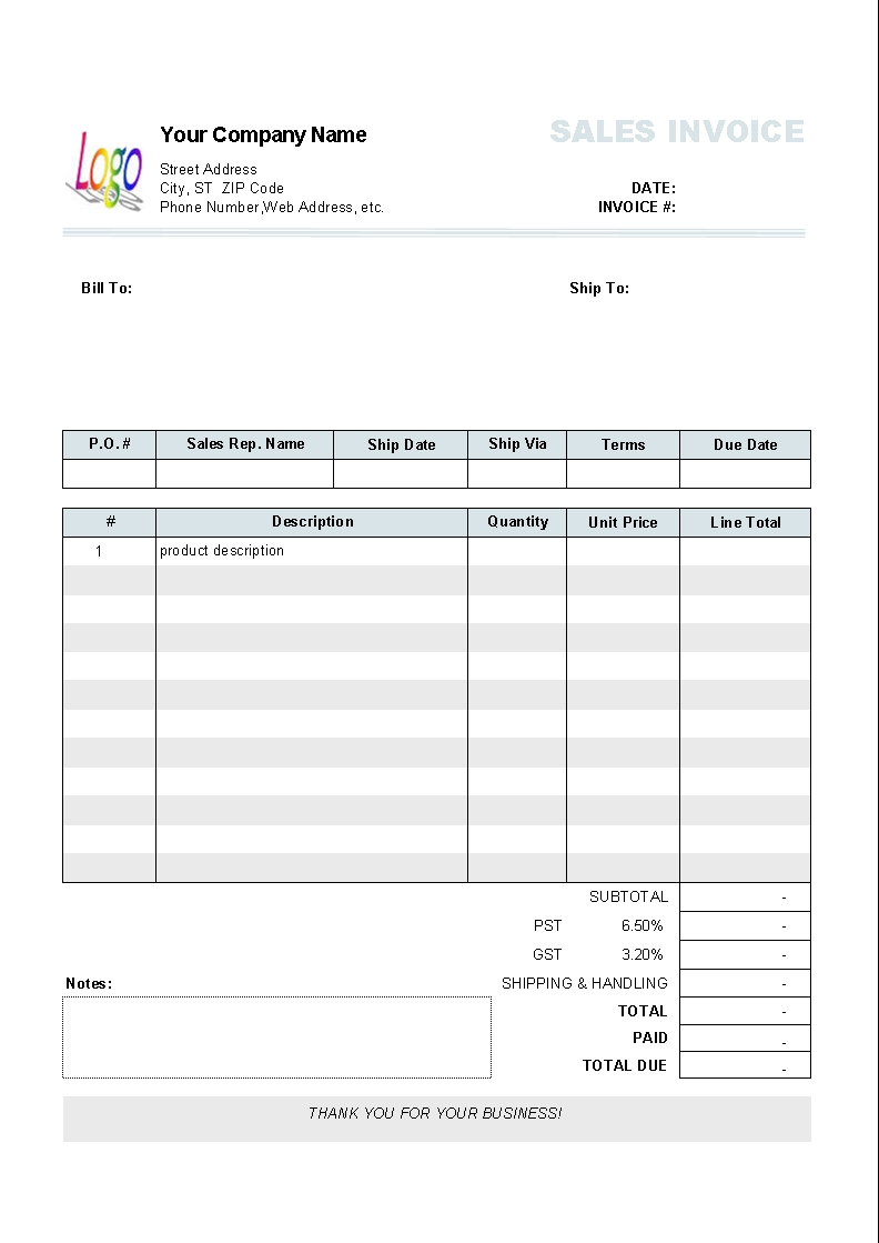 Invoice Template Numbers