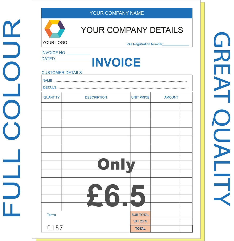 personalised invoice book business office amp industrial ebay pre printed invoices