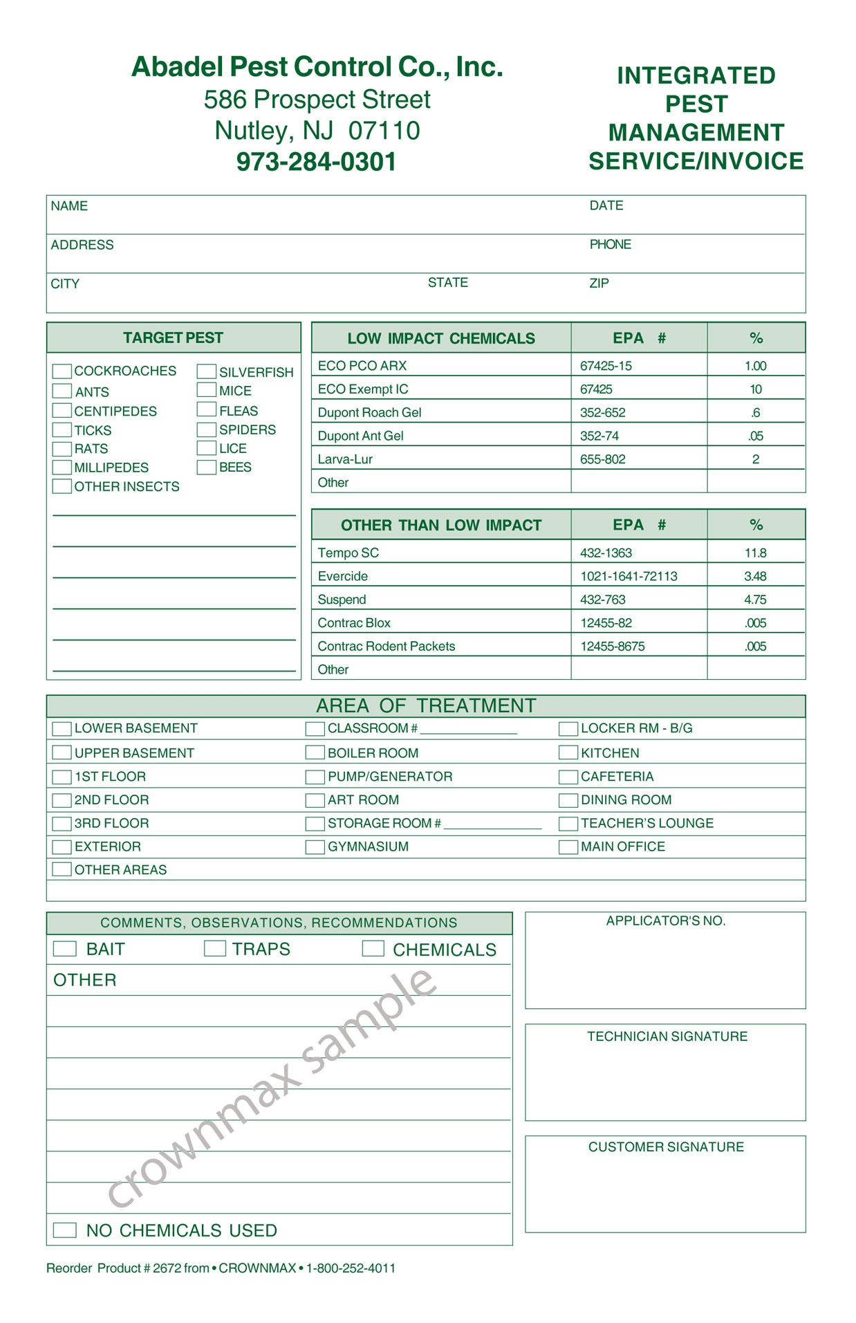 pest control invoices   invoice template ideas