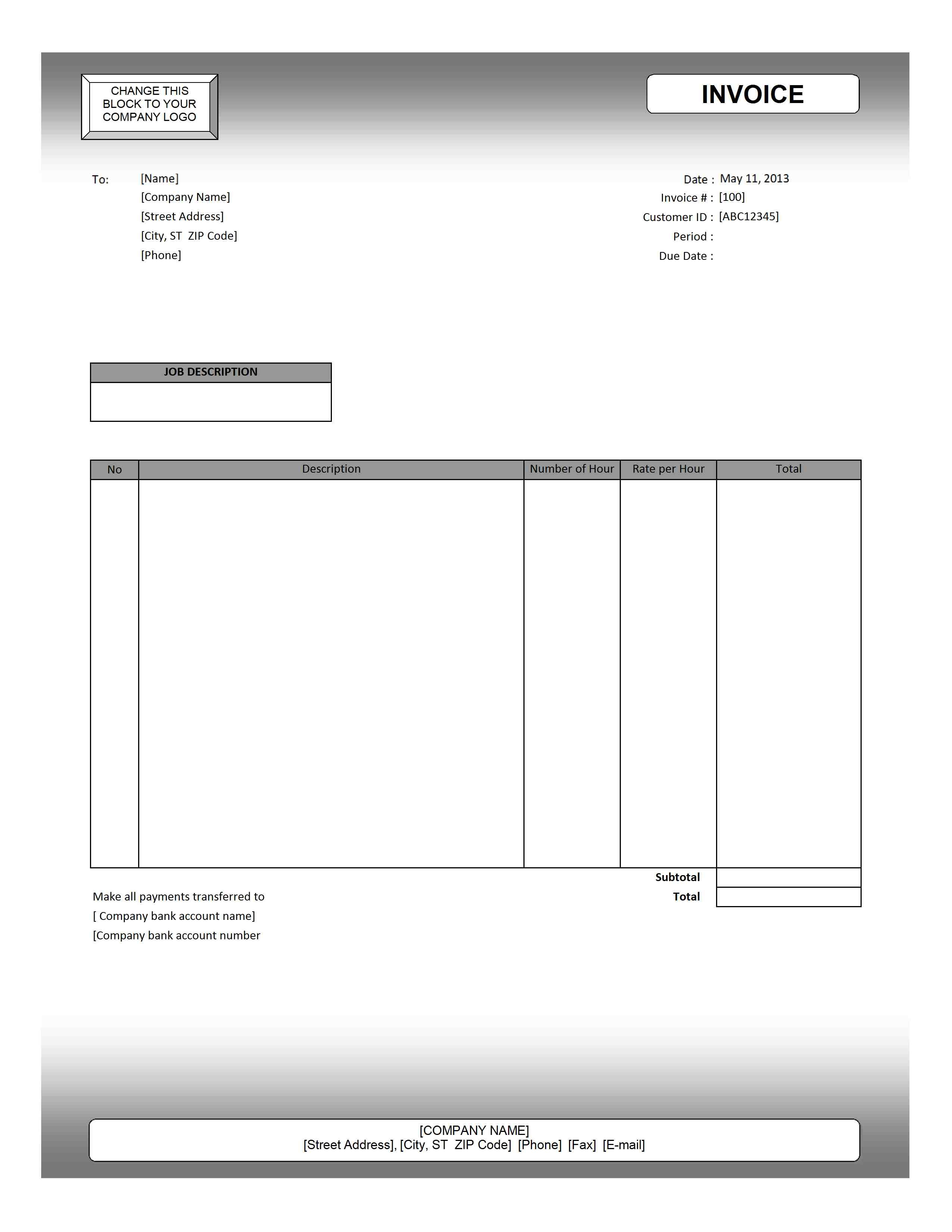 service invoice template printable paper invoices service invoice template excel